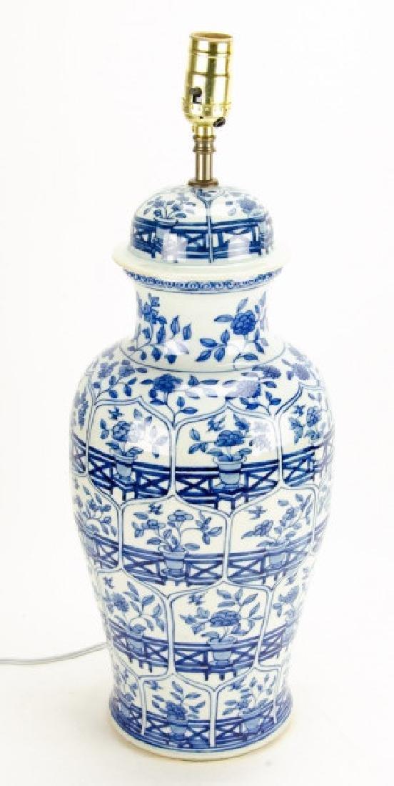 Chinese Blue & White Porcelain Ginger Jar Lamp