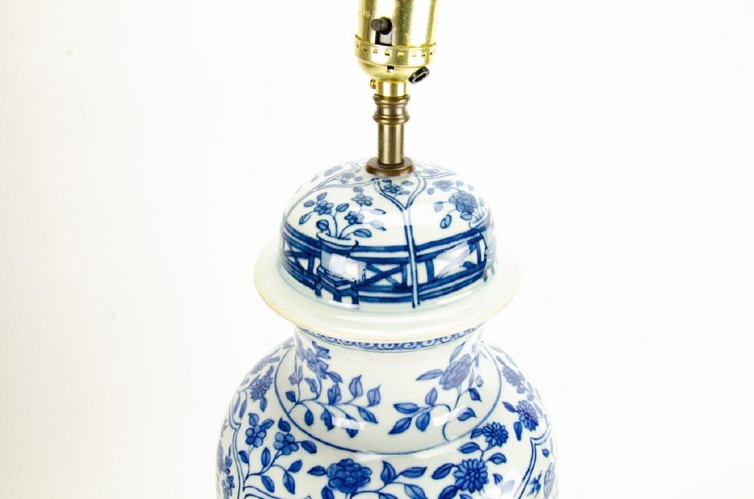 Chinese Blue & White Porcelain Ginger Jar Lamp - 3
