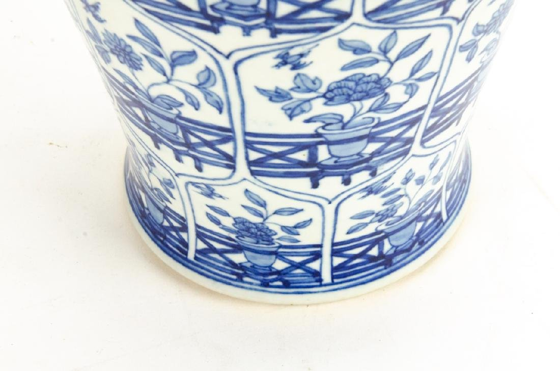 Chinese Blue & White Porcelain Ginger Jar Lamp - 4