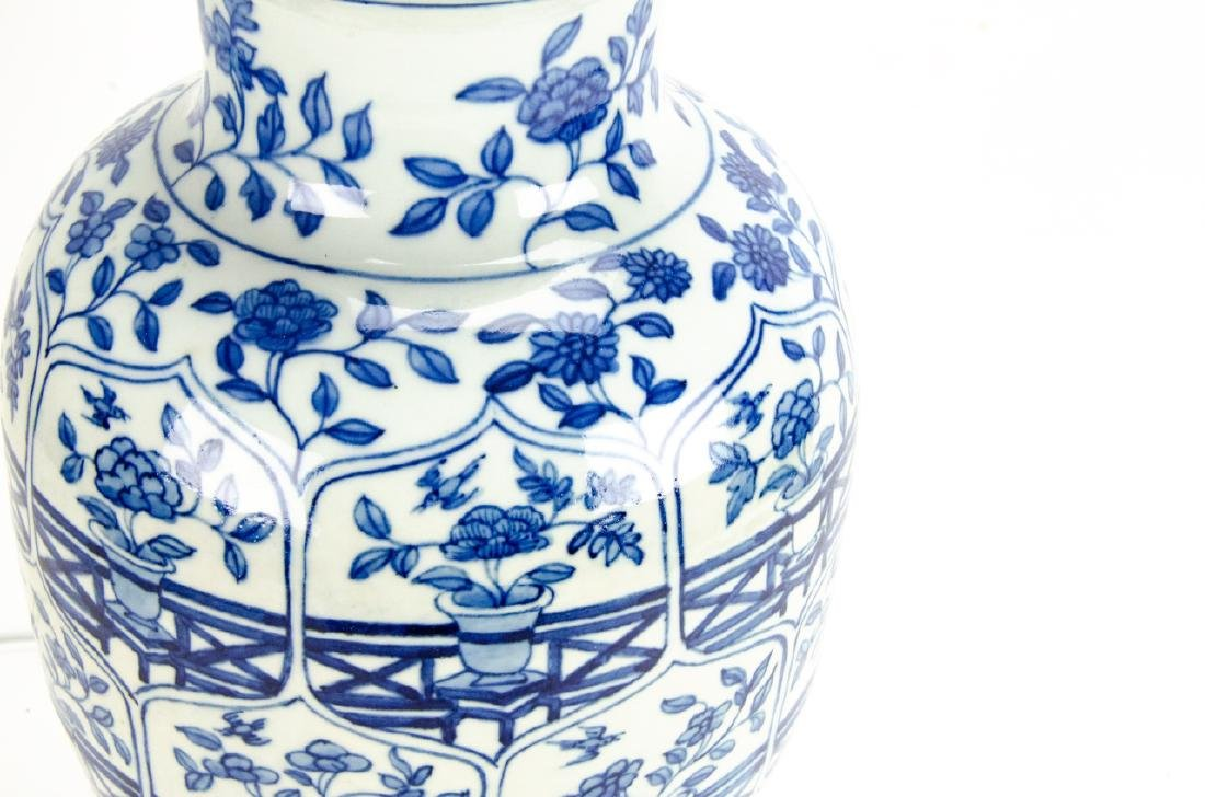 Chinese Blue & White Porcelain Ginger Jar Lamp - 5