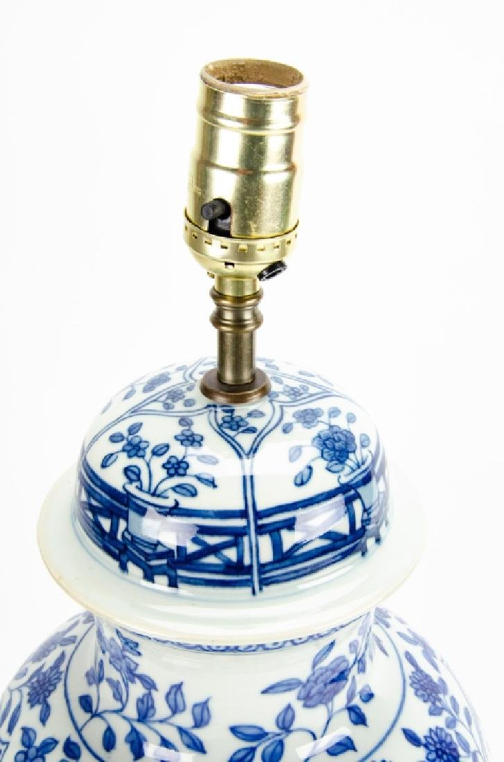 Chinese Blue & White Porcelain Ginger Jar Lamp - 6