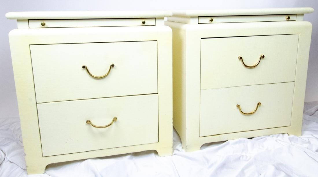 Pair Minic Custom Woodwork Lacquered Nightstands