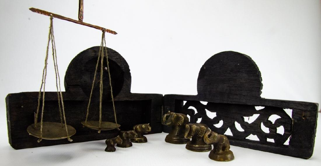 Burmese Miniature Brass Weights & Scale