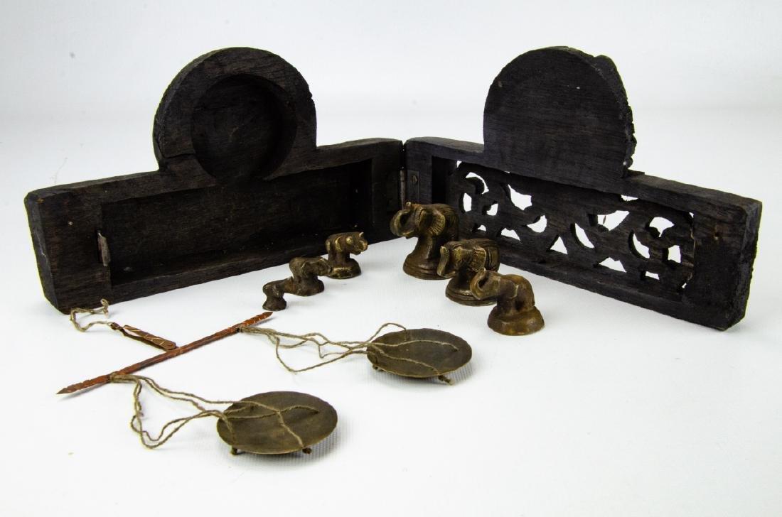 Burmese Miniature Brass Weights & Scale - 3