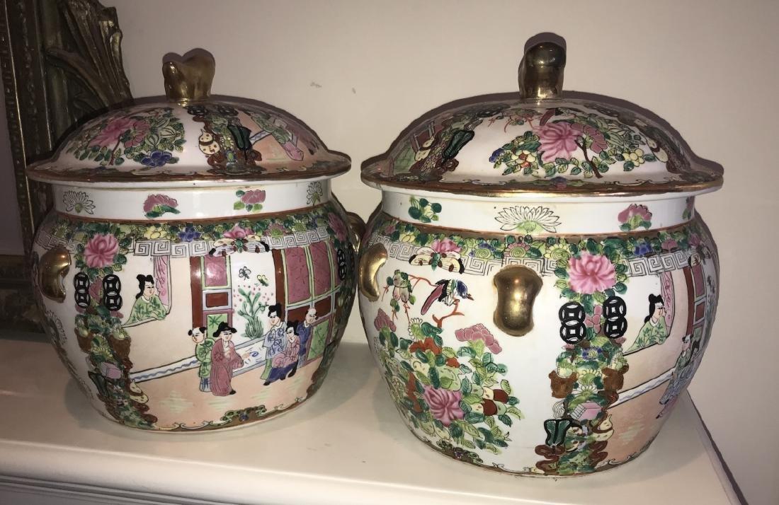 Pair of Chinese Porcelain Lidded Jars