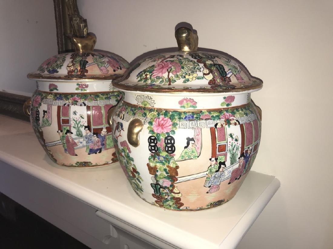 Pair of Chinese Porcelain Lidded Jars - 2