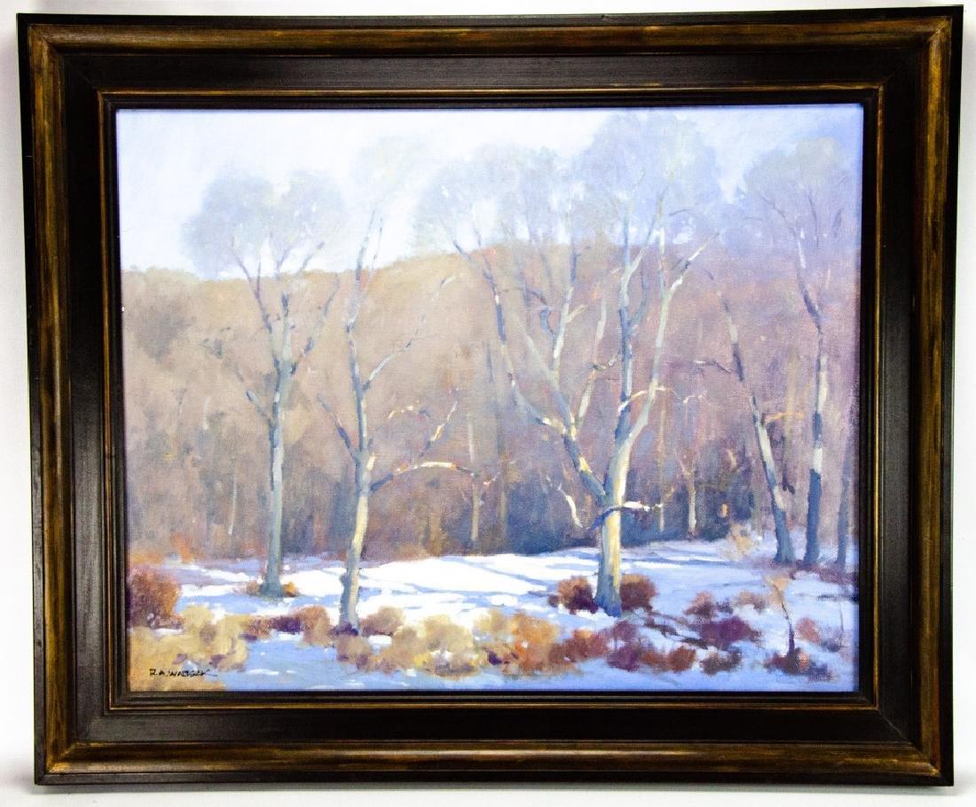 Robert A. Waltsak Winter Landscape Oil Painting