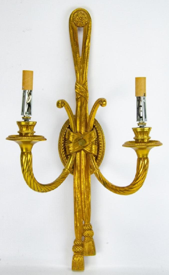 Gilt Brass Neoclassical Double Arm Wall Sconce