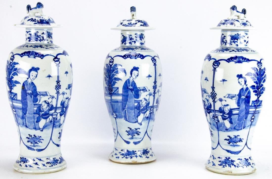 Trio of Chinese Blue & White Porcelain Ginger Jars