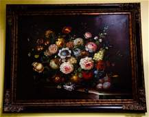 Old Dutch Master Style Framed Floral Oil Painting