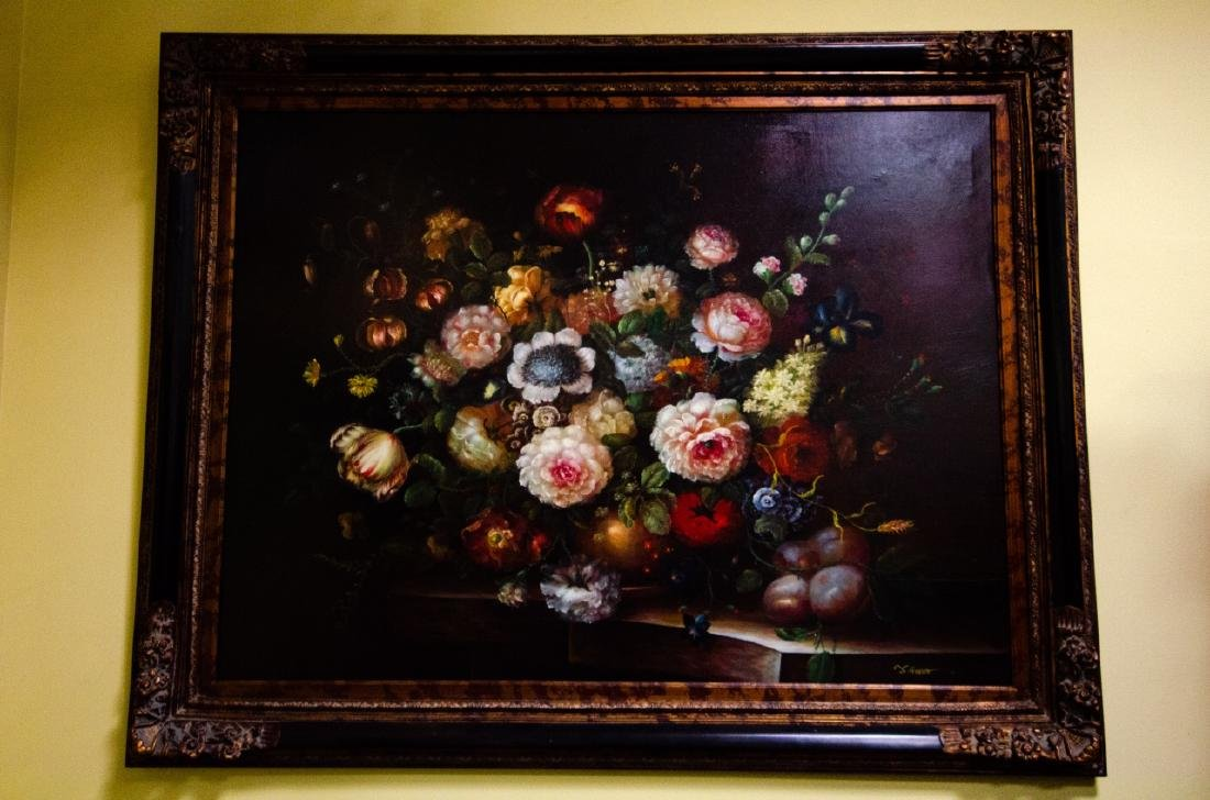 Old Dutch Master Style Framed Floral Oil Painting - 2