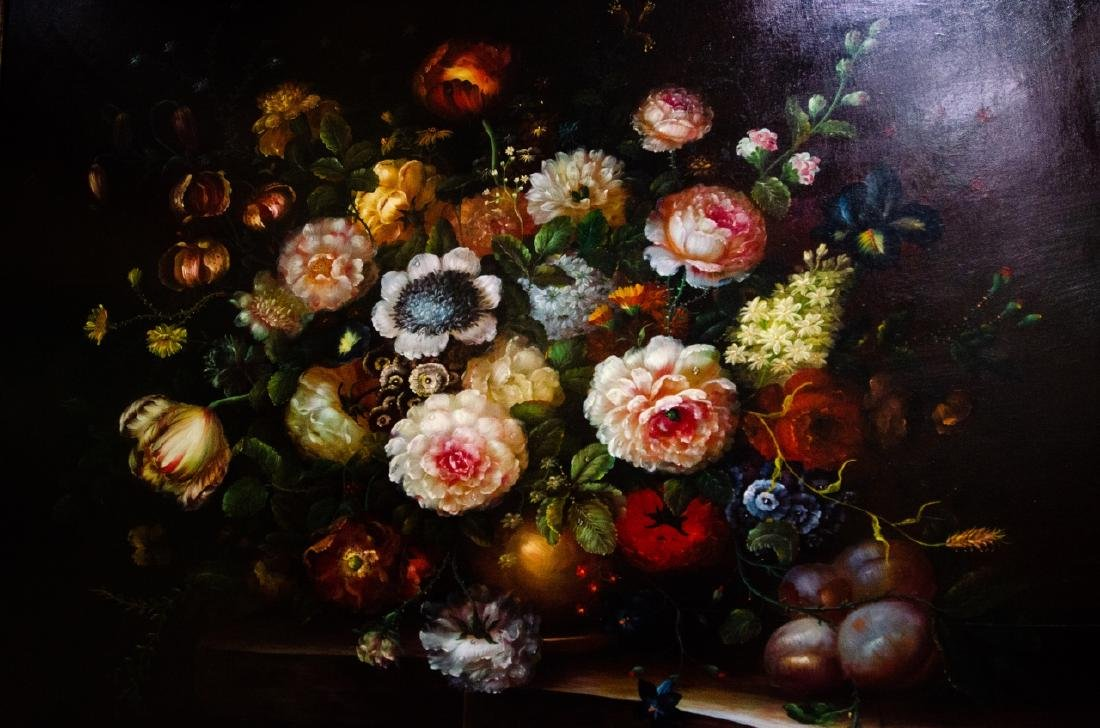 Old Dutch Master Style Framed Floral Oil Painting - 3