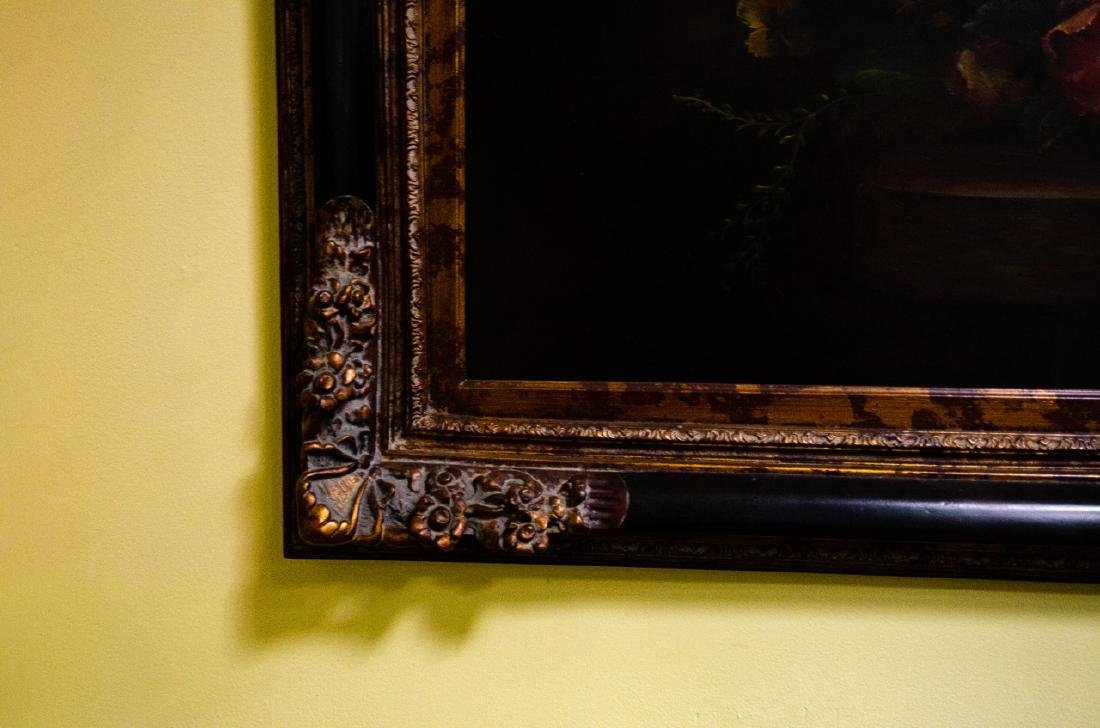 Old Dutch Master Style Framed Floral Oil Painting - 4