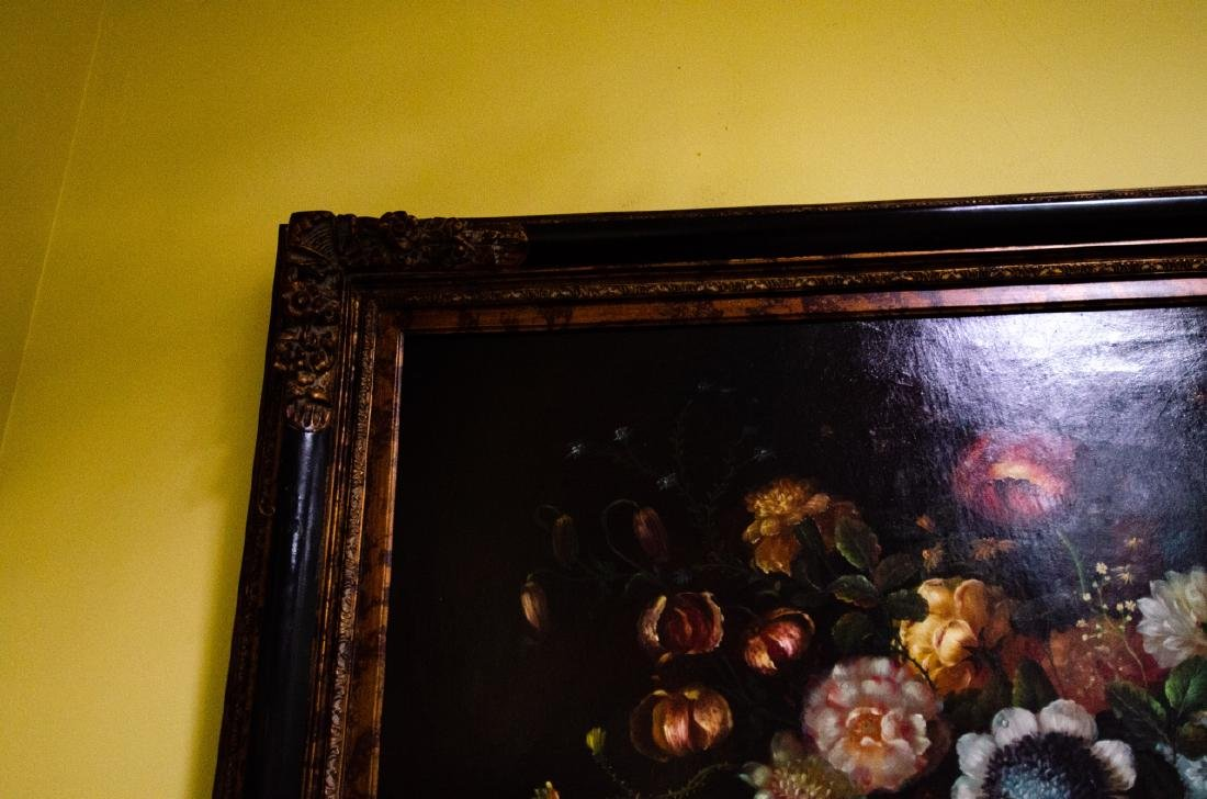 Old Dutch Master Style Framed Floral Oil Painting - 5