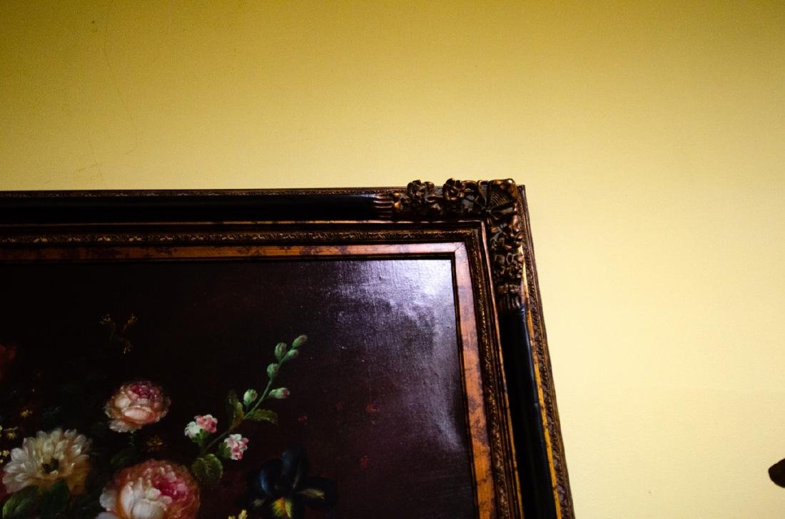 Old Dutch Master Style Framed Floral Oil Painting - 6