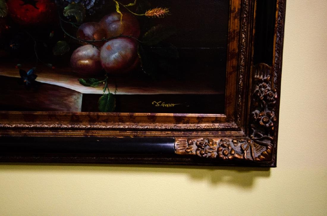 Old Dutch Master Style Framed Floral Oil Painting - 7