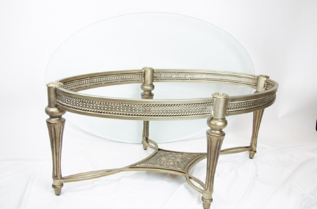 Neoclassical Style Glass Top Coffee Table - 2
