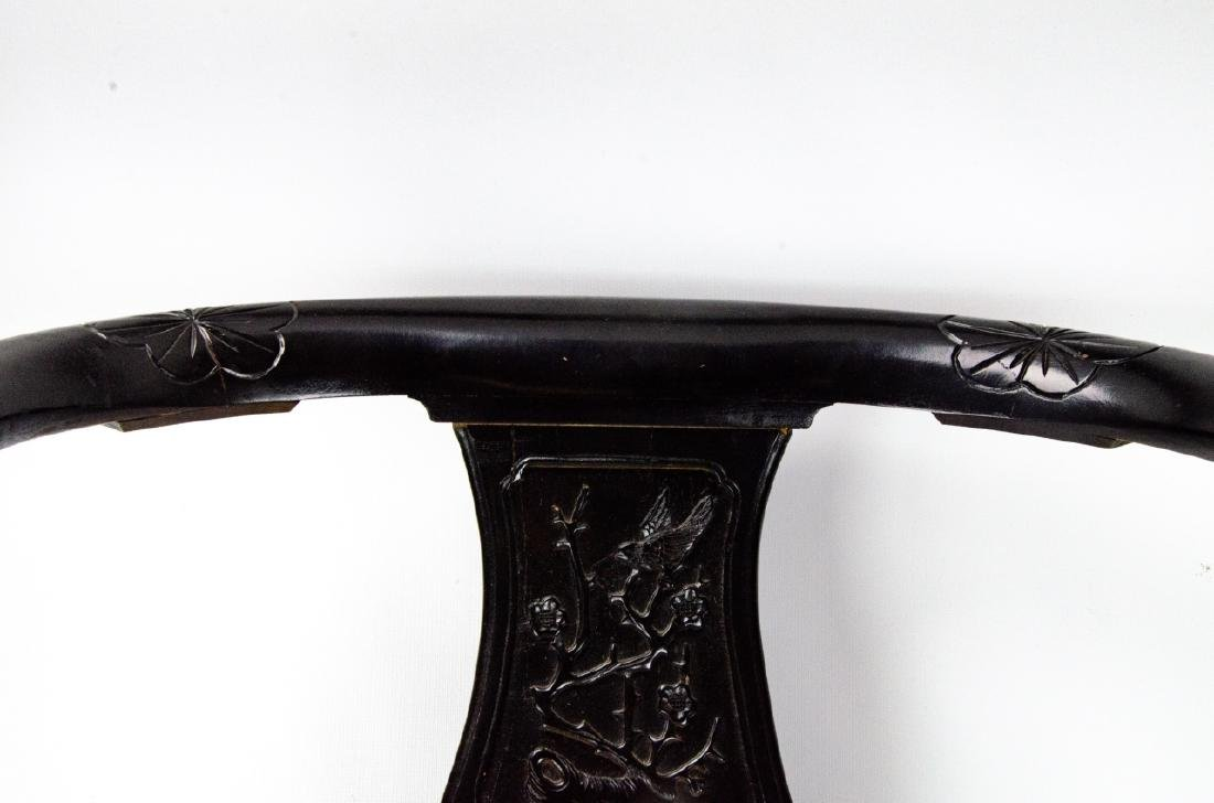 Pair of Chinese Horseshoe Black Lacquer Arm Chairs - 7