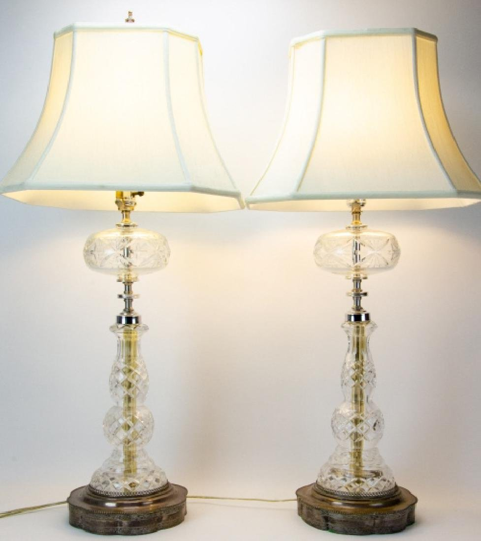 Pair Cut Glass + Silver Plate Vintage Lamps
