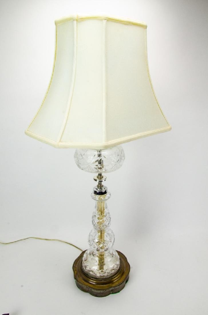 Pair Cut Glass + Silver Plate Vintage Lamps - 3
