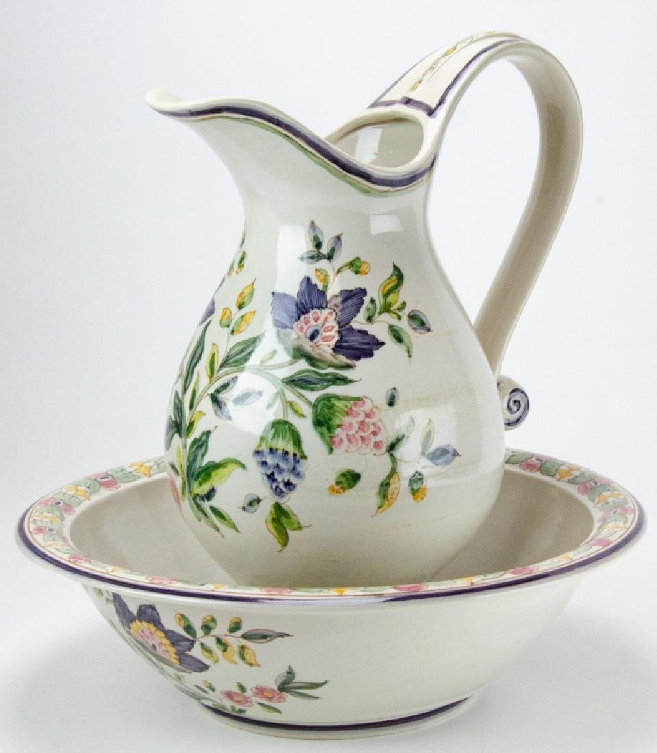 Hand Painted Pottery Pitcher & Wash Basin