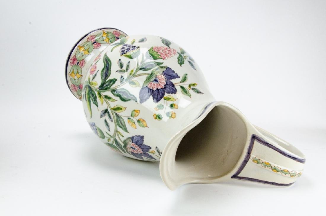 Hand Painted Pottery Pitcher & Wash Basin - 2