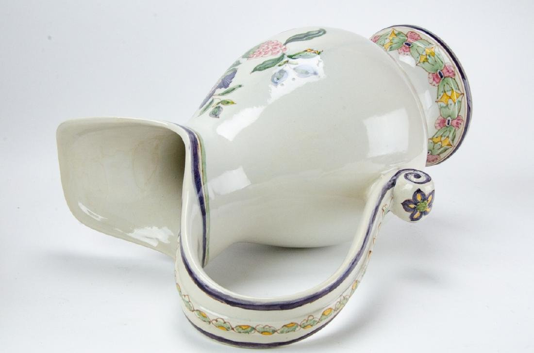 Hand Painted Pottery Pitcher & Wash Basin - 3