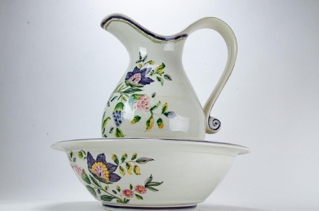 Hand Painted Pottery Pitcher & Wash Basin - 8