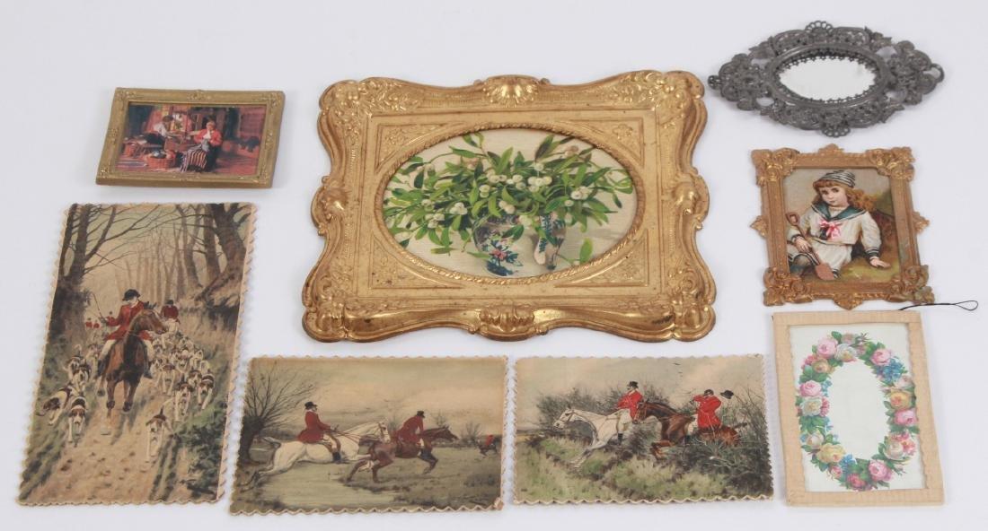 Antique Dollhouse Artwork Including Ormolu Frames