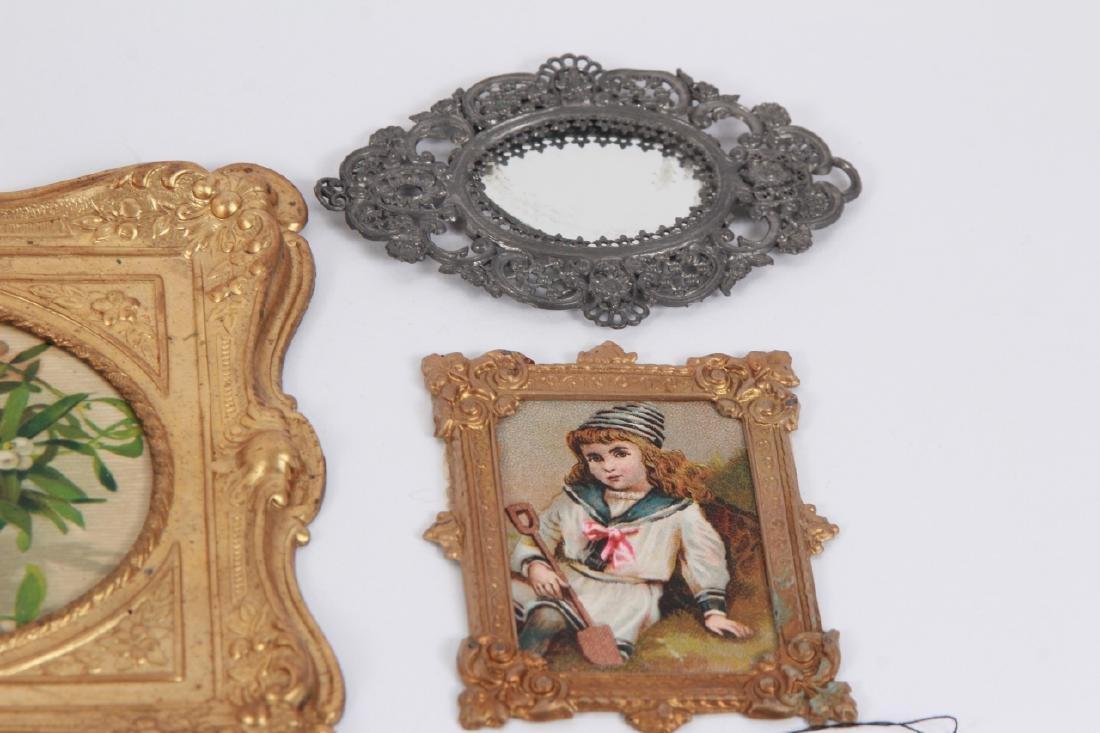 Antique Dollhouse Artwork Including Ormolu Frames - 6