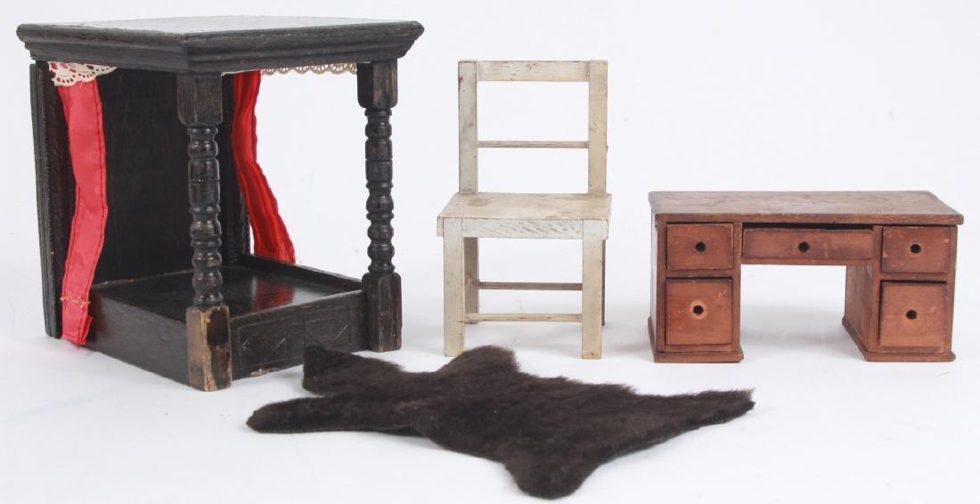 Antique Dollhouse Furniture & Bear Skin Rug