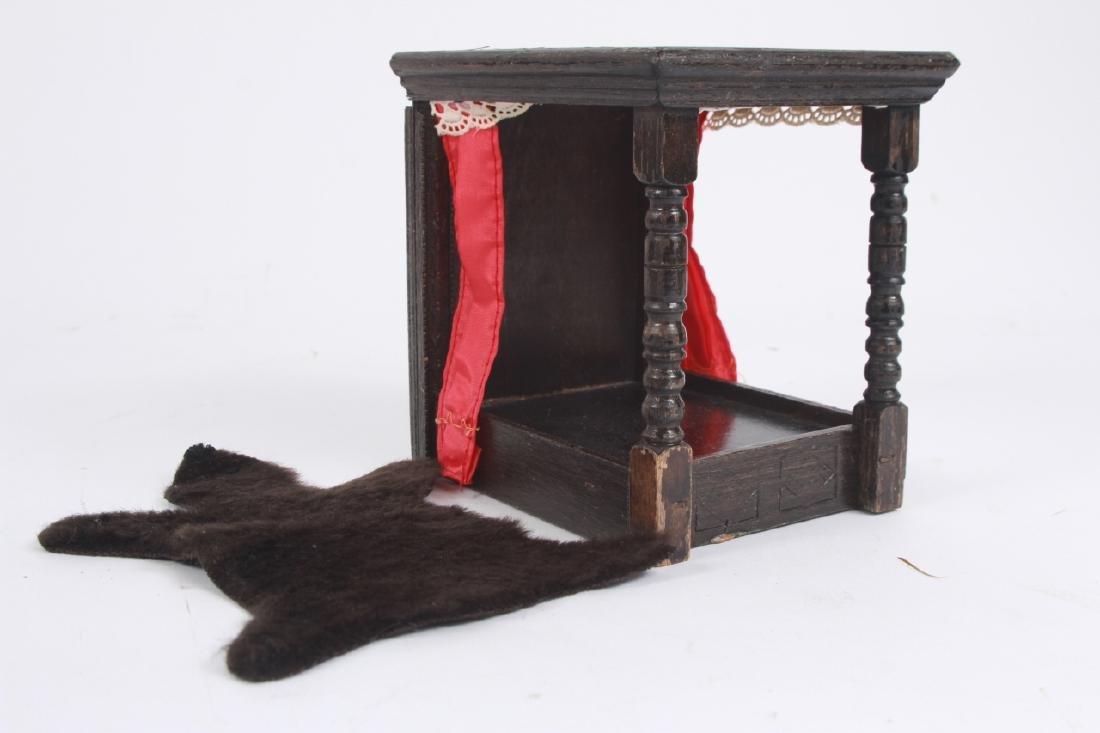 Antique Dollhouse Furniture & Bear Skin Rug - 2