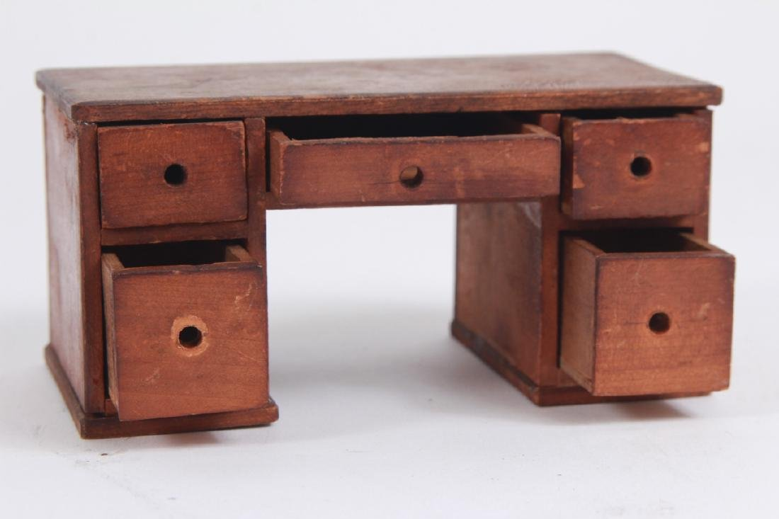 Antique Dollhouse Furniture & Bear Skin Rug - 3