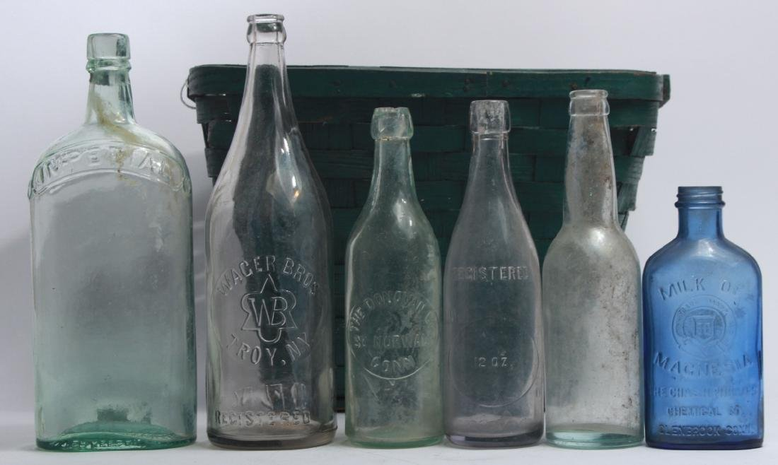 Collection of Antique Glass Bottles w Green Basket