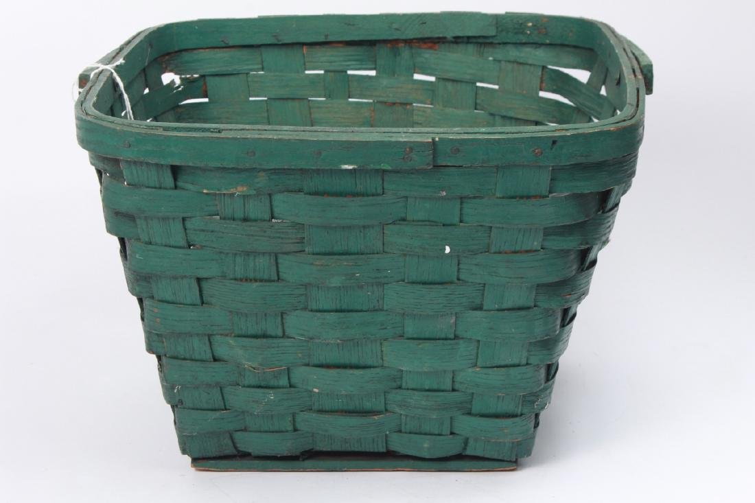 Collection of Antique Glass Bottles w Green Basket - 2