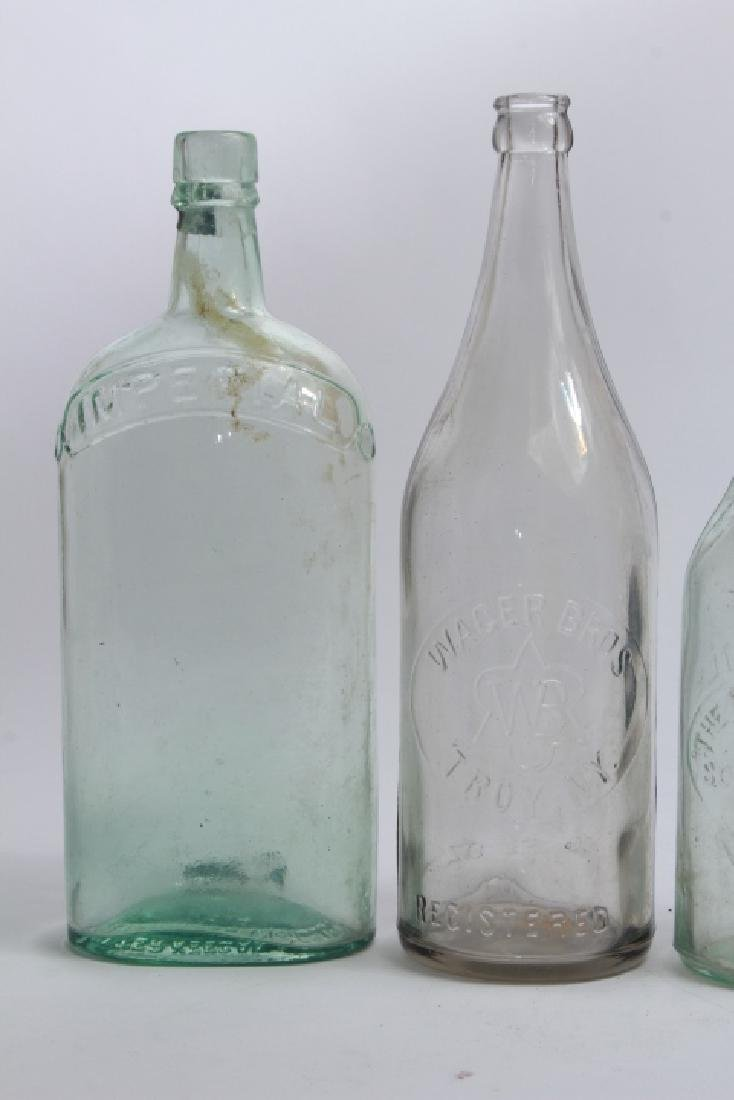 Collection of Antique Glass Bottles w Green Basket - 4