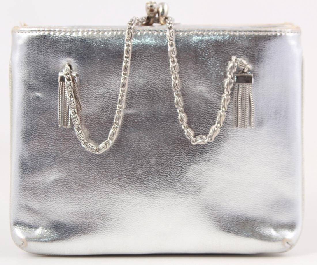Vintage Silver Toned Leather Purse / Evening Bag
