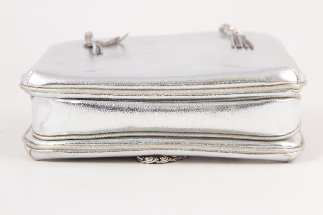 Vintage Silver Toned Leather Purse / Evening Bag - 2