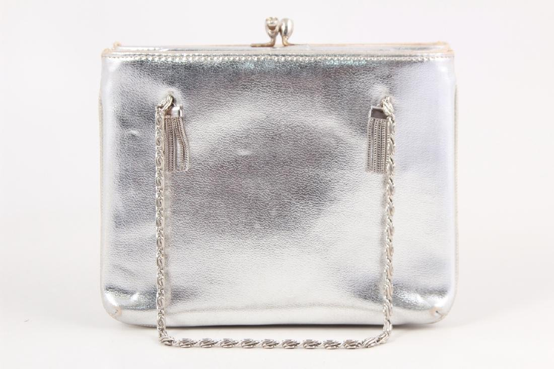 Vintage Silver Toned Leather Purse / Evening Bag - 3