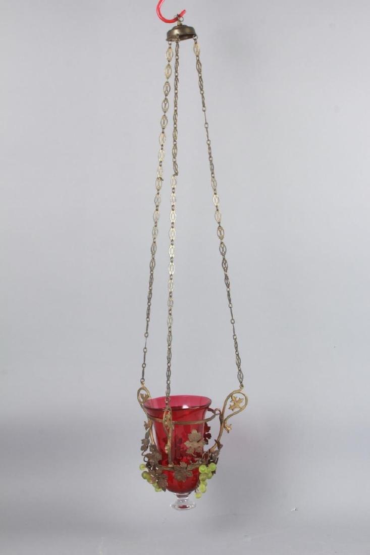 Ormolu Metal & Grape Motif Wall Lantern Sconce - 5