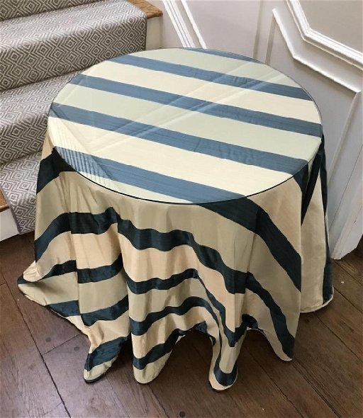 Custom Made Silk Table Cloth Round End