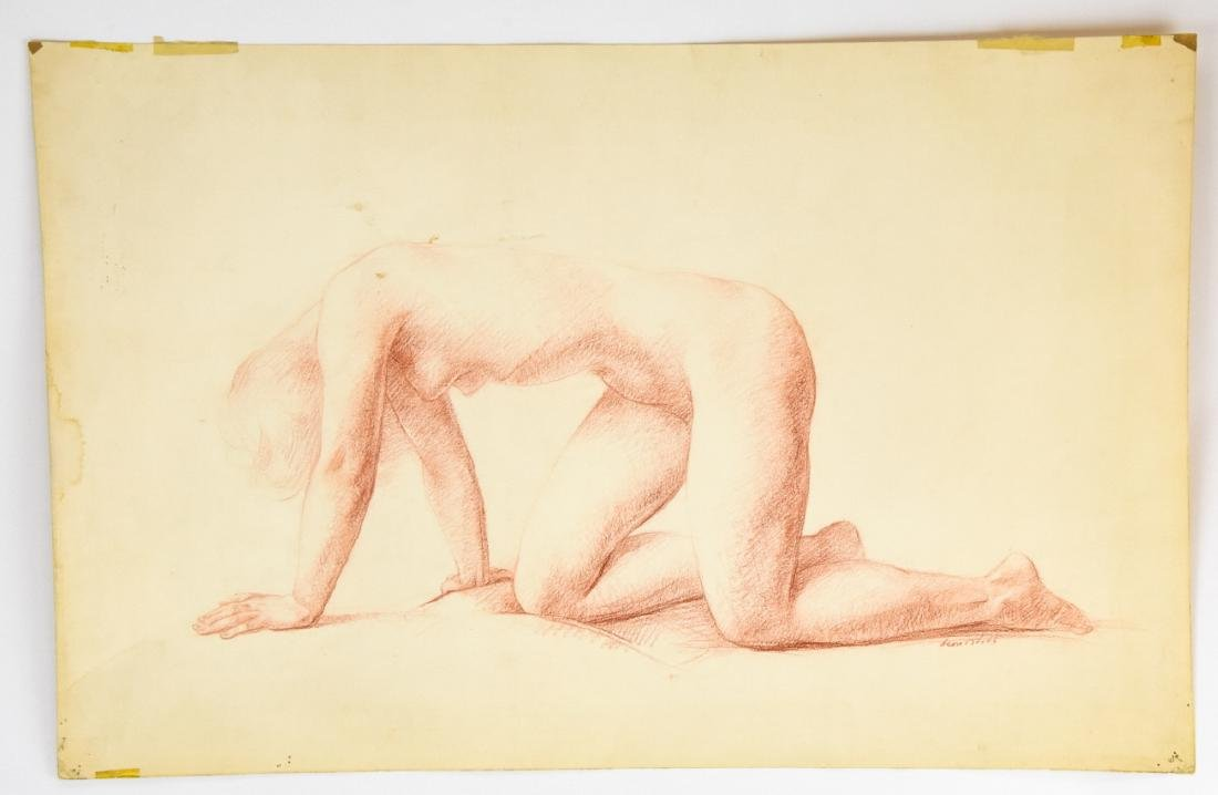 Leon Kroll Sanguine on Paper Drawing Female Nude