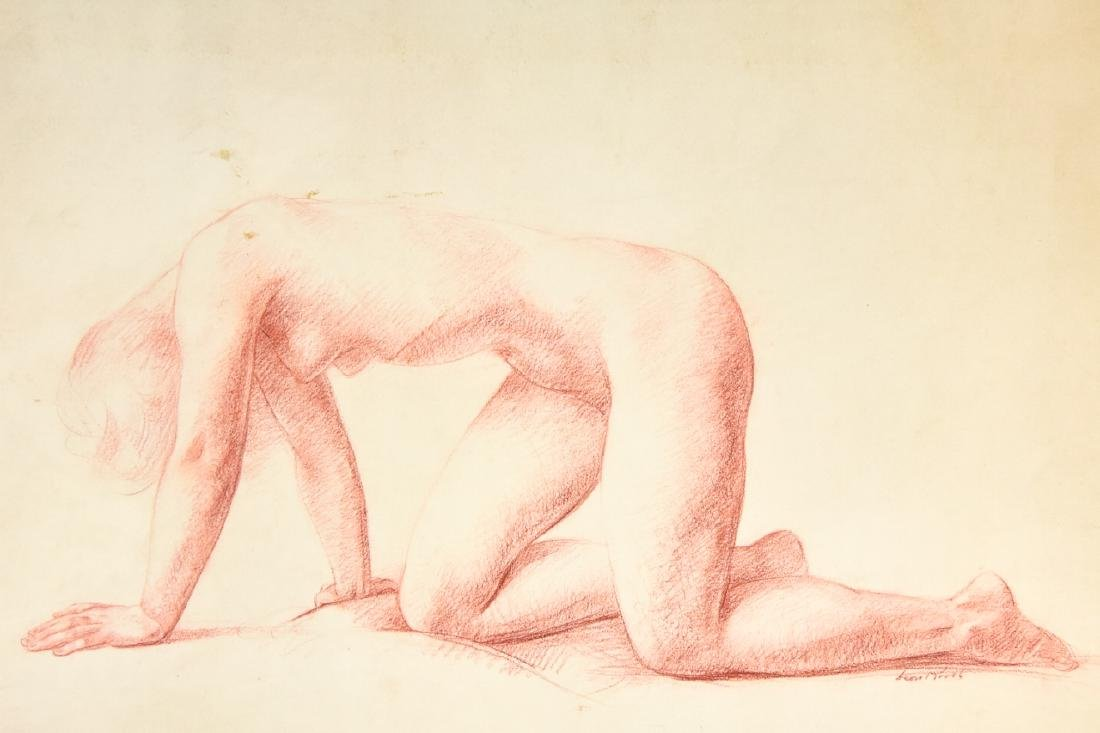 Leon Kroll Sanguine on Paper Drawing Female Nude - 2