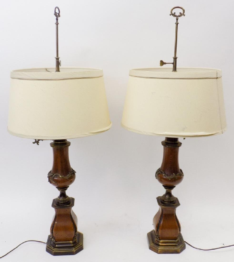 Pair of Large Baroque Style Wood + Brass Lamps