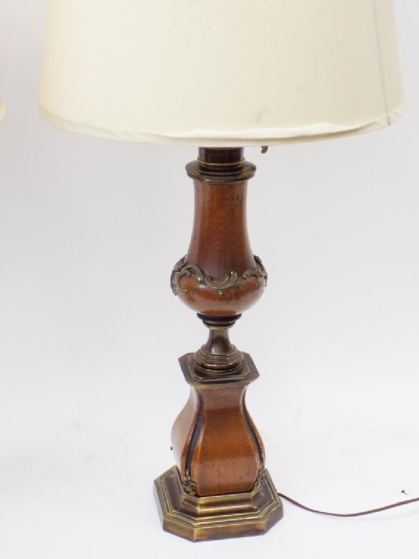 Pair of Large Baroque Style Wood + Brass Lamps - 3