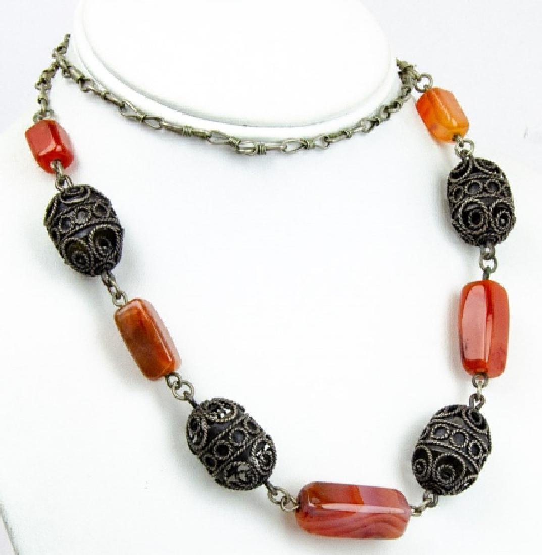 Banded Agate & Cannetille Beaded Necklace