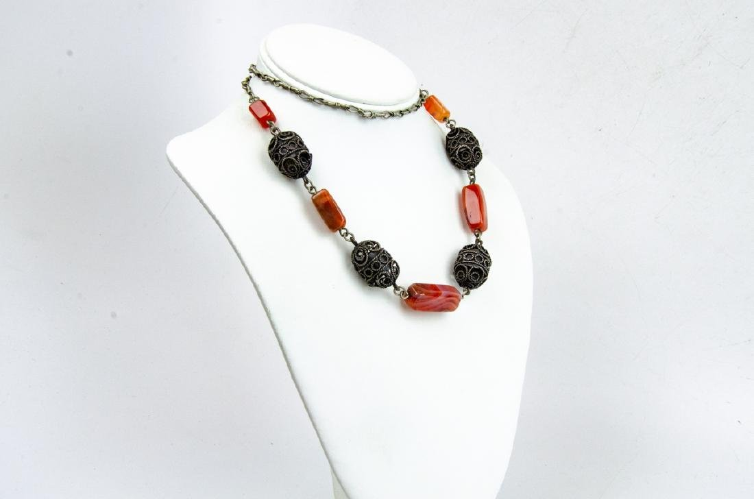 Banded Agate & Cannetille Beaded Necklace - 2
