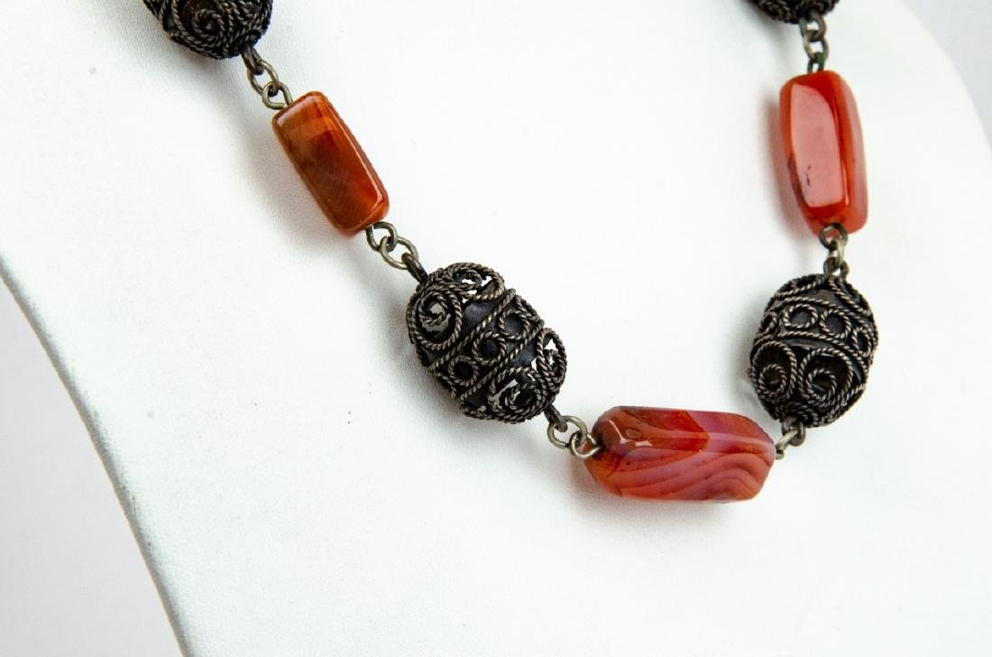 Banded Agate & Cannetille Beaded Necklace - 3