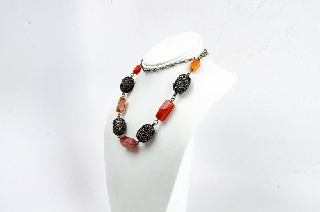 Banded Agate & Cannetille Beaded Necklace - 4