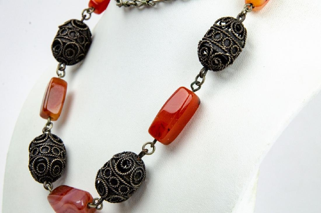 Banded Agate & Cannetille Beaded Necklace - 5